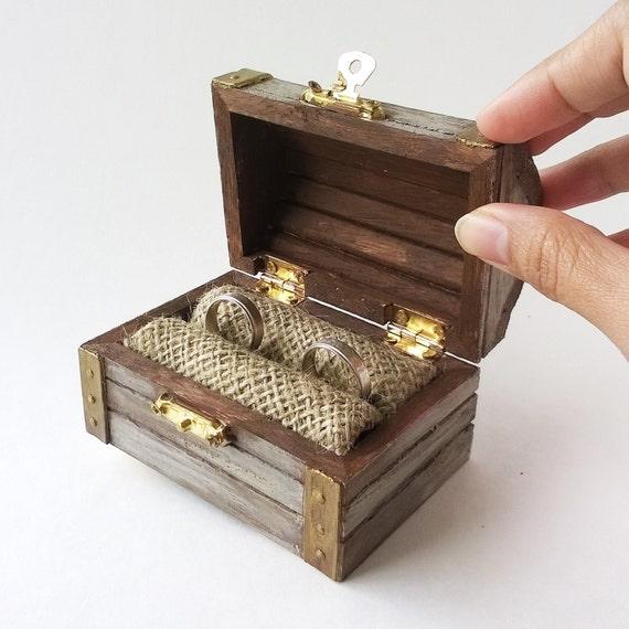 Khaki Treasure Chest Ring Bearer Rustic Ring Bearer Box