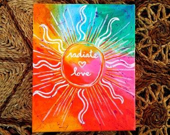 Radiate Love-Original Acrylic Painting on 8x10 Canvas