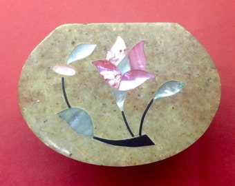 1970s Indian Soapstone box inlaid with beautiful Mother of Pearl flowers