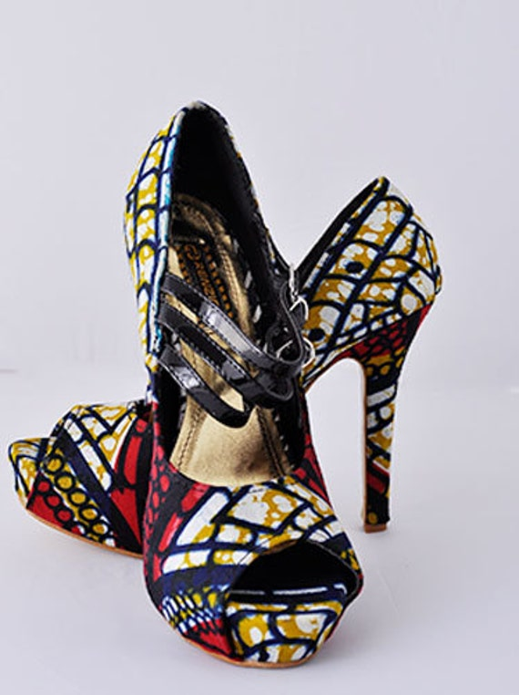 Ankara Fabric Covered Shoe, Ankara high heel shoe