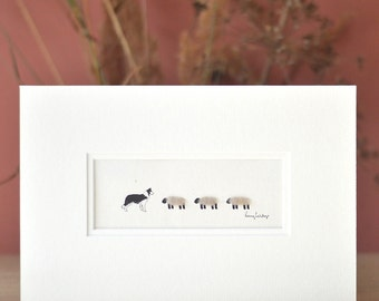 Print, woolly sheep, border collie, hand finished with wool,