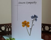 Sympathy Cards (3) ~ Blank inside ~ Handmade ~  Real flowers ~  NOT a print ~  Set of 3 ~
