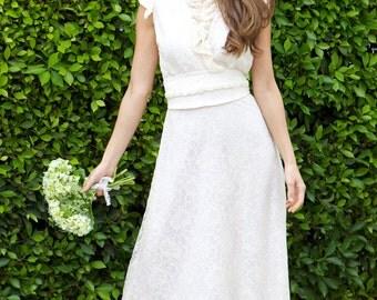 Lace Wedding Dress, Lace Dress w/ Ruffles, Boho Wedding Dress, Lace Maxi Dress w/ Beaded Obi Belt, Ruffle Dress in Ivory Lace, Made To Order