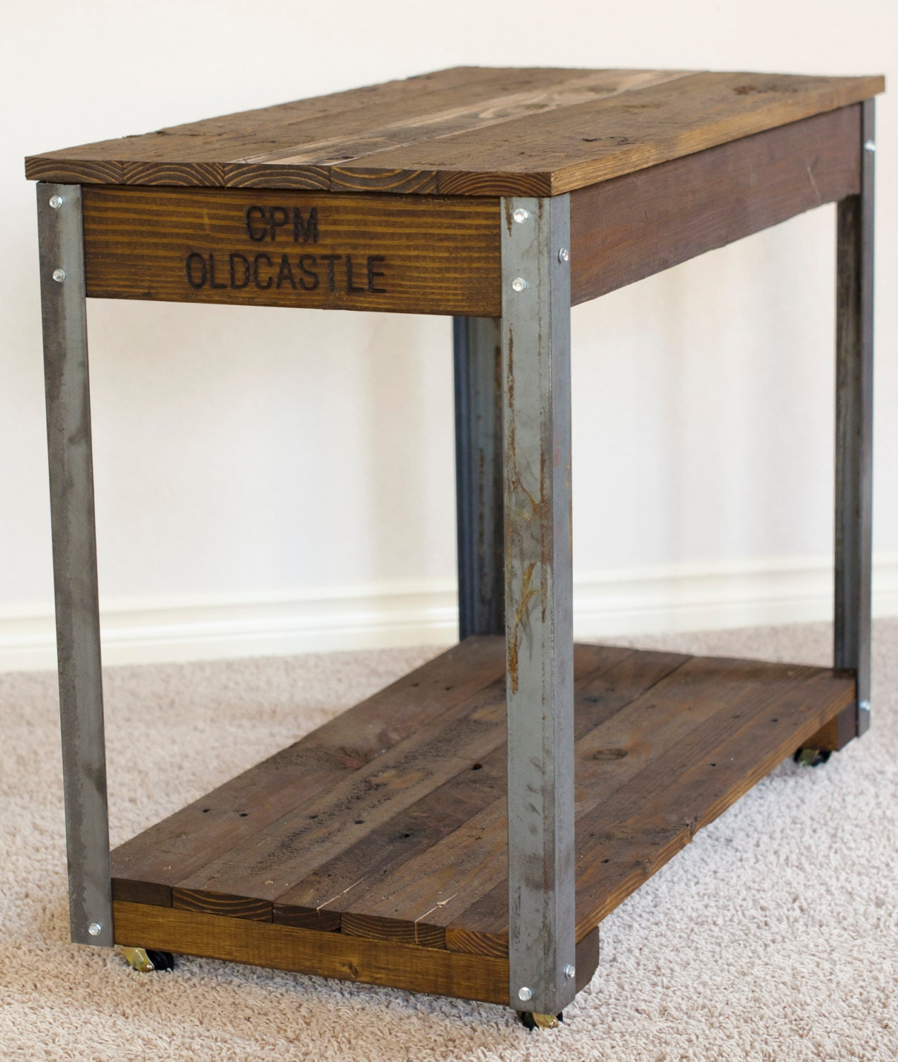 Reclaimed salvaged wood rustic industrial coffee by for Rustic industrial end table