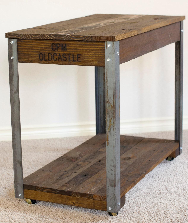 Rustic Wood Slab Industrial Coffee Table: Reclaimed Salvaged Wood Rustic Industrial Coffee By