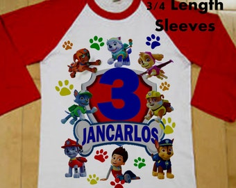 Paw Patrol Birthday Shirt - Raglan Shirt Available