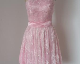 2015 One-shoulder Blush Pink Lace Short Bridesmaid Dress with Blush Pink Sash