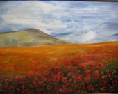 Original Oil Painting, poppy field, on wood fiber 18,9 x 23,6 inch. (48x60), quality of work, frame,  home and office decoration