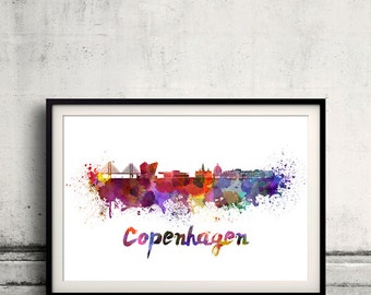 Copenhagen skyline in watercolor over white background with name of city 8x10 in. to 12x16 in. Poster art Illustration Print  - SKU 0304