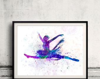 Woman ballerina ballet dancer dancing 8x10 in. to 12x16 in. Poster Digital Wall art Illustration Print Art Decorative  - SKU 0494