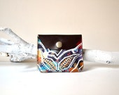 Hand Painted Leather Coin Purse, Leather Coin Bag, Womens Leather Pouch, Womens Coin Pouch, Brown Pink Mustard White Purple Turquoise