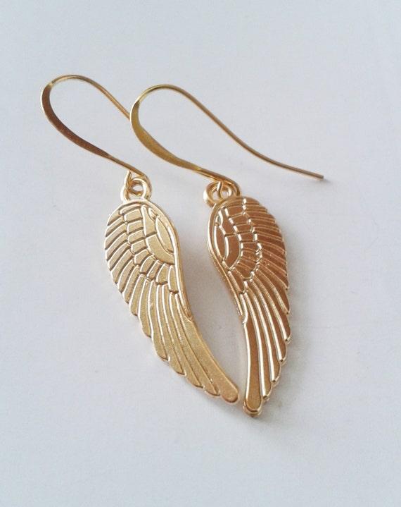 wings earrings gold angle wings by simplybluejewelry