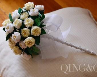 Handmade, Wedding Bouquet, Wedding Flowers, Paper Flowers, Vintage Yellow