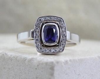 Purple sapphire ring, sapphire & diamond ring, sapphire gold Ring Gemstone, precious purple ring, purple natural stone, purple stone ring
