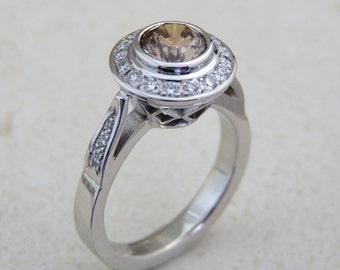 Champagne Diamond ring, Champagne diamond engagement rings, white diamond ring, 14K gold lady diamond rings, fancy diamond engagement ring,