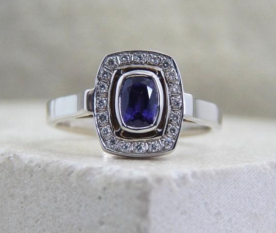 Purple sapphire ring sapphire & diamond ring sapphire gold