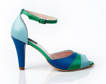 Helene Blue Leather Sandals