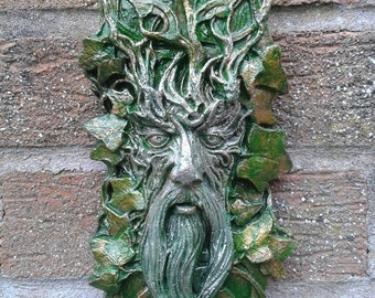 Whispy GreenMan Garden Wall Plaques - Hand Cast & Painted PAGAN WICCAN