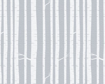 Rooted - Birch Forest Silver Mist - Fabric By The Yard - Woodsy Collection