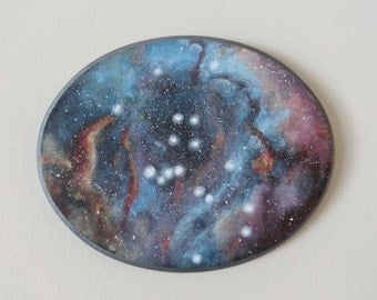 """8"""" x 10"""" Galaxy Painting On Oval Wood Plaque"""