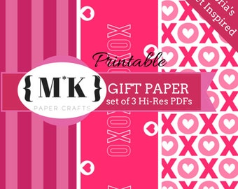 Printable Gift Wrapping Paper /Scrapbooking – Victoria's Secret Inspired XOXO – Set of 3 Hi-Res PDF files – Digital Download