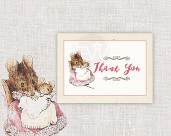beatrix potter pink hunca munca girl baby shower thank you card printable DIY note card - INSTANT DOWNLOAD