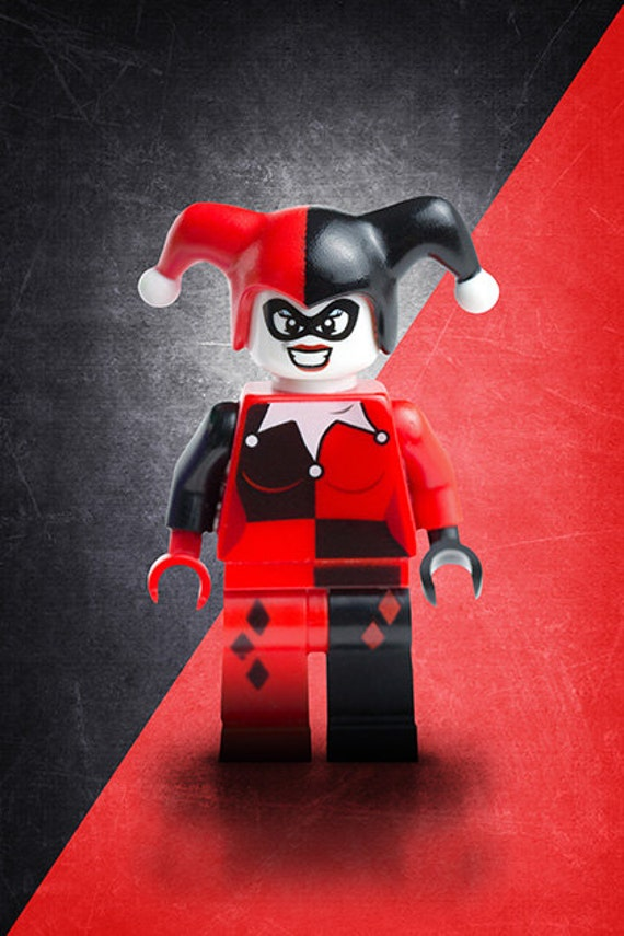 Lego harley quinn poster wall art custom made kids room for Harley quinn bedroom ideas