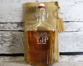 Large Glass Flask Personalized -  Best Man Gift - Gifts for Men - Tailgating