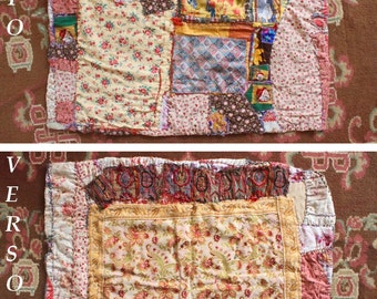 "Small blanket in crazy patchwork: ""During winter evenings"""