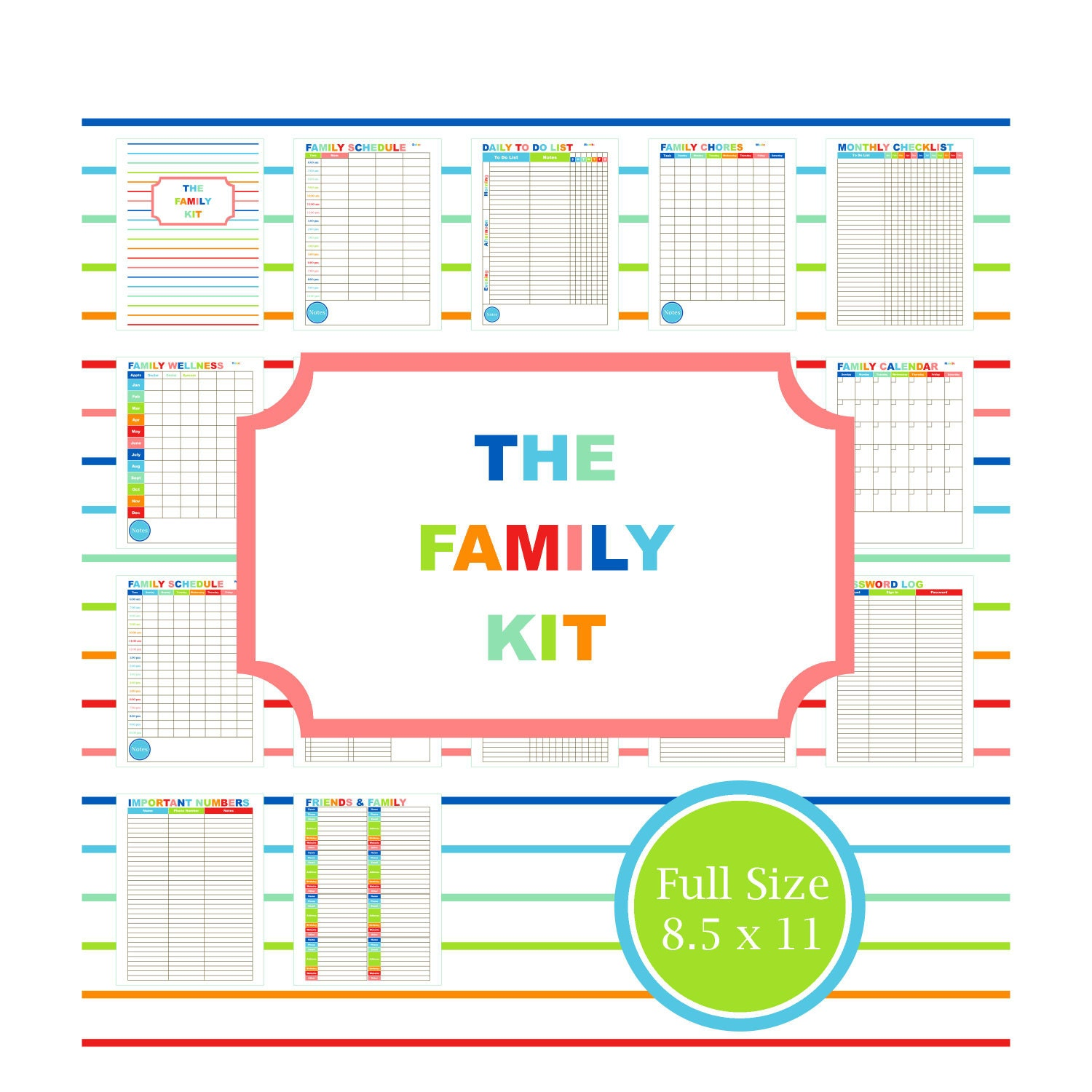 Calendar Cover Page Template : Family planner kit printable calendar to do list