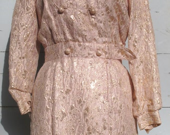 Pink and Gold Lamé Wrapover Dress 1960s