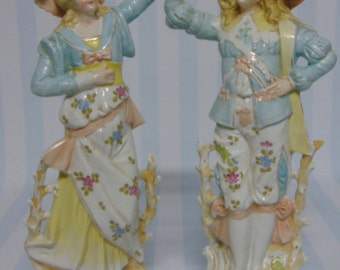 """Anitque Pair 19c Rudolstadt Volkstedt Large 15"""" LADY & MAN FIGURINES Pastel Floral Blue Yellow Pink Full Court Dress - Excellent Condition!"""