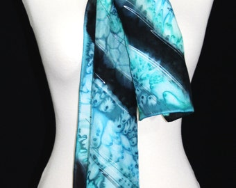 Teal Silk Scarf. Silver Blue Hand Painted Silk Shawl. Steel Blue Handmade Silk Scarf CLOUDY SKIES. 8x54. Birthday, Mother Gift. Gift-Wrapped