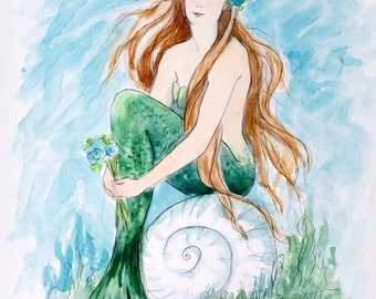 Mermaid greeting card, girl, woman, mermaid, coastal, beach art, shabby chic, from original watercolor by Tina O'Brien