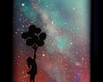 Skateboard Deck Art - Space Art - Spray Paint Art - Girl with Balloons Silhouette - Wall Art - Collectors