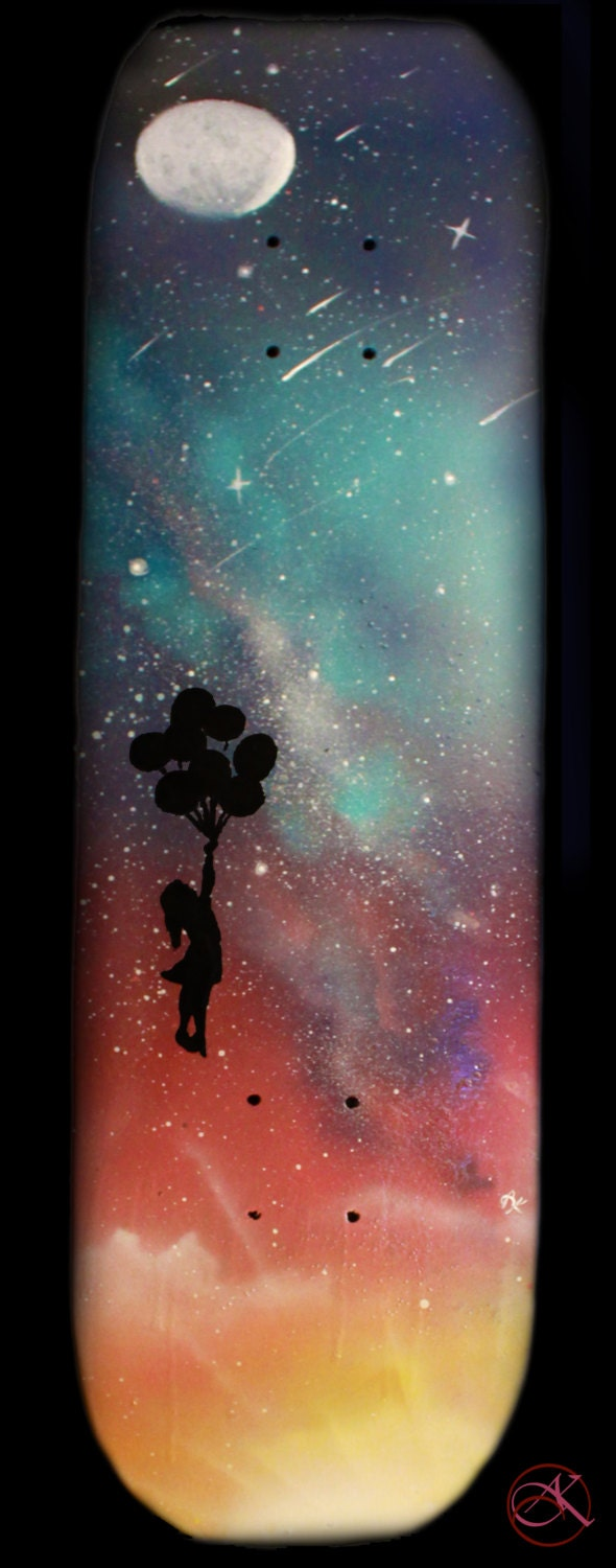 skateboard deck art space art spray paint art girl with. Black Bedroom Furniture Sets. Home Design Ideas