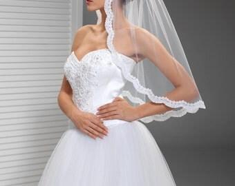Bridal Veil, Lace Edge Veil in Ivory or White, Illusion Veil