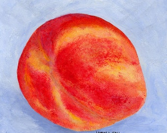 Peach Painting, Fruit Painting, Kitchen Art, Small Format Art, Acrylic Painting