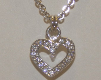 Heart Shaped Pendant Sterling Silver White Diamonds