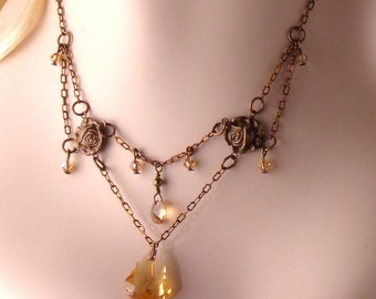 Antiqued Brass and Swarovski Necklace, Handmade Chain and Crystal necklace, steampunk necklace, Victorian style necklace