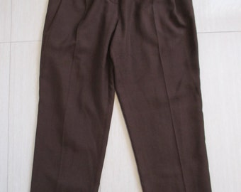 Vintage Brown Silk High Waist Pants by Chelsea Design