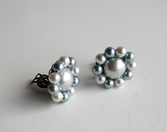 vintage clip on earrings . blue faux pearl earrings