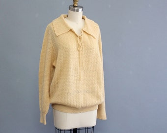 SALE sweater pale golden yellow sweater . vintage 70s crochet sweater . women's large to xl . scalloped collar & secretary tie