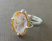 Mini Tabasco Geode Clutched Ring Drusy Druzy Ring Raw Rough Slice