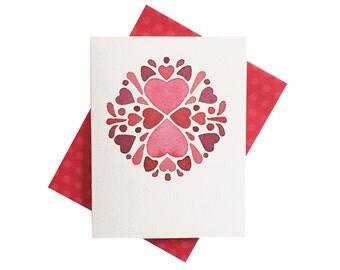 Folk art hearts design Love card - polka dot red envelope