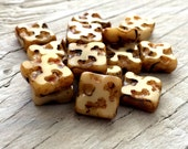 Czech glass beads,  beige picasso square beads 10mm pack of 6