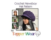 Newsboy Hat Pattern - Crochet Hat Pattern - Woman's Hat with Brim Pattern - Instant Download - Crochet Pattern