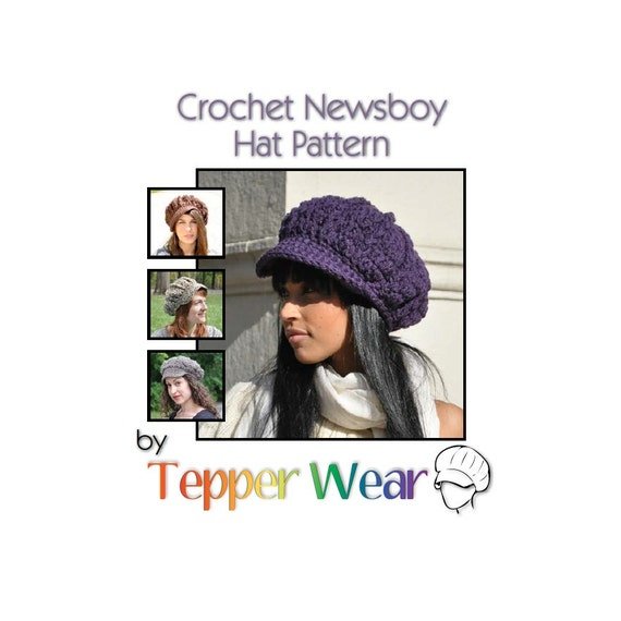 Crochet Hat Pattern - Newsboy Hat Pattern - Teen or Adult Hat with Brim Pattern - Instant Download