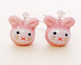 Pink Bunny Earrings Cherrie and Berrie Rabbit Sisters - Kawaii Bunny Rabbit - Rabbit Earrings -Bunny Jewelry -Rabbit Jewelry -Kawaii Jewelry
