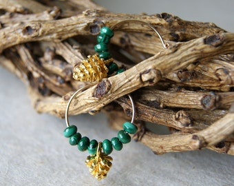 Pine Cone Earrings - hoop earrings - green malachite earrings - gold pine cone earrings - Woodland Wedding - Autumn Jewelry - gift under 25